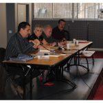 La tribune, Jean Estrach, Marthe Laloge, Michel Vovelle, Louis Berbabeu.